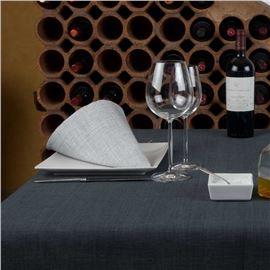 Mantel tela elegance 180cm ø negro hilo blanco - 1560009-MANTEL TELA ELEGANCE