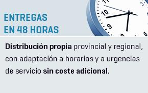 Entregas en 48 Horas - Distribución propia provincial y regional, con adaptación a los horarios de nuestros clientes como a urgencias de servicio sin coste adicional